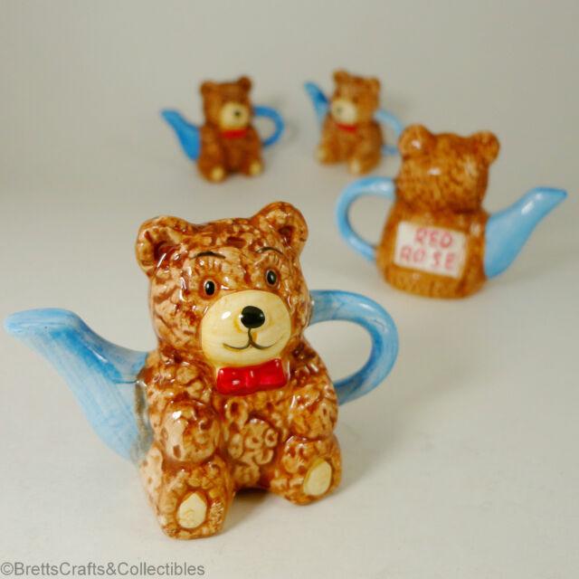 Red Rose Tea (Canada) Miniature Teapot - 1996/99 - Set 3 Toy Chest - Teddy Bear