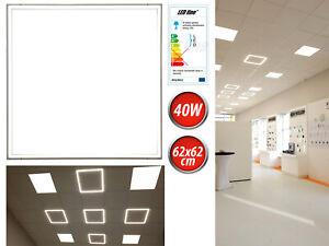 LED-Panel-40W-62x62-Rahmen-Beleuchtung-Neutralweiss-Ultraslim-Deckenleuchte-Lampe