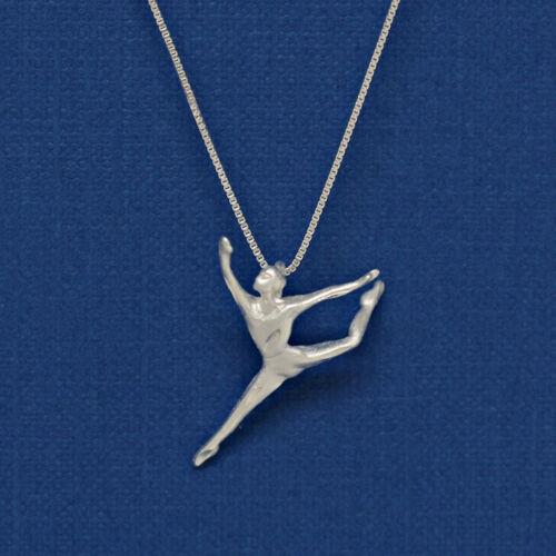 Danseuse Moderne Ballet Danse Argent Sterling 925 Chaîne Collier Sautoir et pendentif #2210