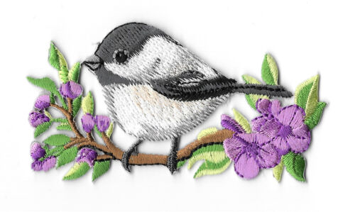 Spring Embroidered Iron On Applique Patch Chickadee Flowers Bird