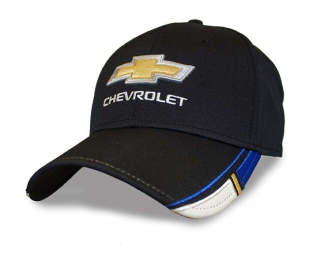 9ed536046 Chevrolet Bowtie Baseball Hat Ball Cap Black W/ Blue Gold & White Trim