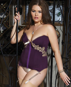 Plus-Size-Microfiber-And-Powernet-Corset-Coquette-1416X