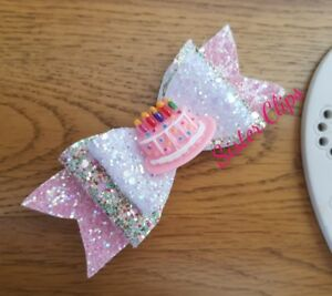 Girls Handmade Glitter Hair Bow On Alligator Clip Approx 4/""