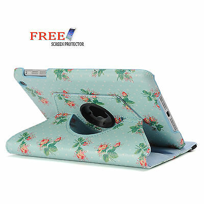 Blue Sprig 360 Rotating Flower Smart Cover Case for Apple iPad mini 2 1