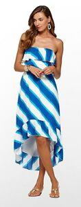 $278 Lilly Pulitzer Caldwell Blue Sheer Strapless Hi-Low Hem Casual Dress NWT  M