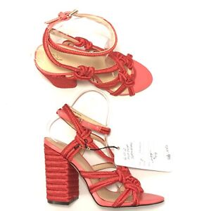 CAbi-Size-7-Sandals-Tiptoe-NEW-Chunky-High-Heel-Strappy-Espadrille-Bright-Red