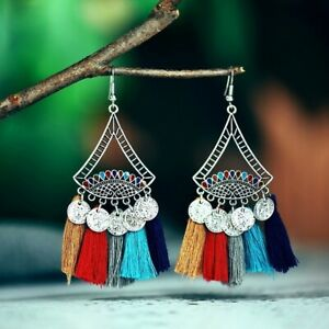 AM-AM-Unique-Lady-Geometric-Tassel-Carved-Coin-Dangle-Statement-Hook-Earrings