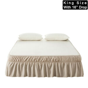 MOHAP Black Bed Skirt 16/'/' Drop Dust Ruffle Wrap Around Bed Microfiber King Size