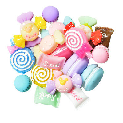20Pcs Resin Cabochons Candy Decoden Craft Charms Flatback DIY Hair Pins Card