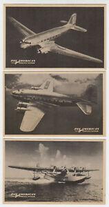D0916 : (3) 1950's Poêle Américain Airways Carte Postale