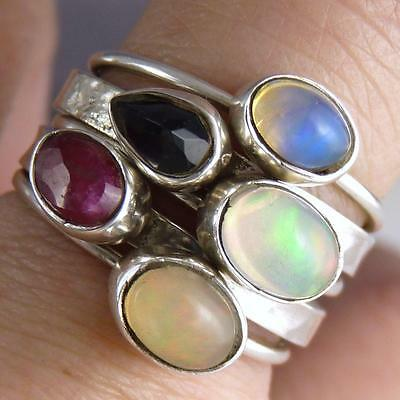 SILVERSARI Stack of 5 Rings ~ Sterling Silver & MULTIGEM with OPAL ~ US 8 3/4
