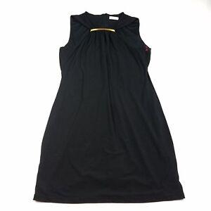 Calvin-Klein-Womens-Dress-Size-Large-Black-Knee-Length-Sleeveless-Sheath-A-Line