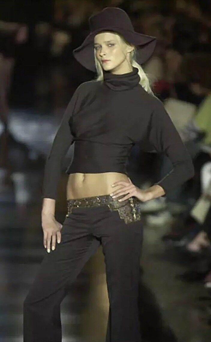 Chloe RUNWAY Net-A-Porter Brown Beaded Crepe Dress Trouser Pants 6 42 TALL