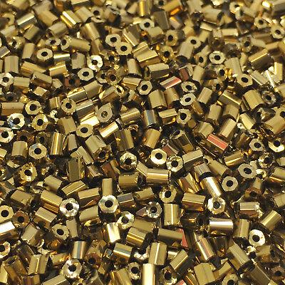 Miyuki Hex Cut Size 11//0 Metallic Gold Iris Seed Beads 12g Q15//3