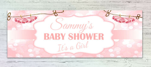 2 Personalised Baby Shower Banners Any name Boy Girl Pink Blue 841x300mm