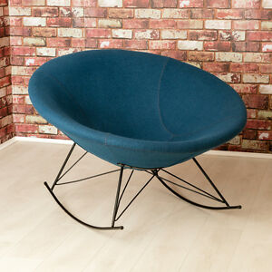 Ozzy Round Designer Felt Rocking Chair Unique Bowl Seat Blue