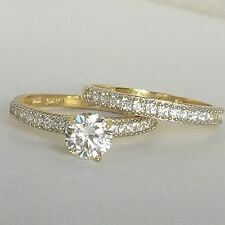 1.5 C 14k  yellow Gold 2 pc solitair round Engagement Wedding Ring band Set S6.5