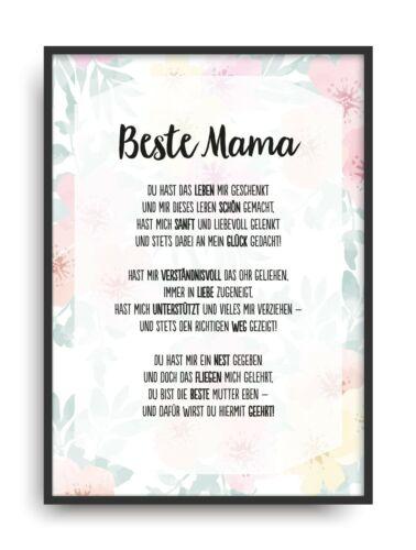 Geschenk Karte BESTE MAMA Kunstdruck Ehrentitel Mutter Auszeichnung Bild
