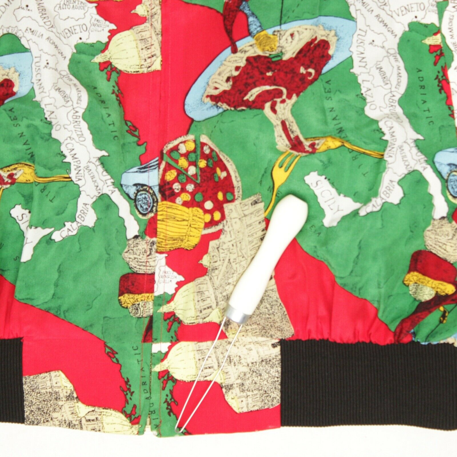 Silk Bomber Jacket L Red Green Italy Print Sports… - image 5