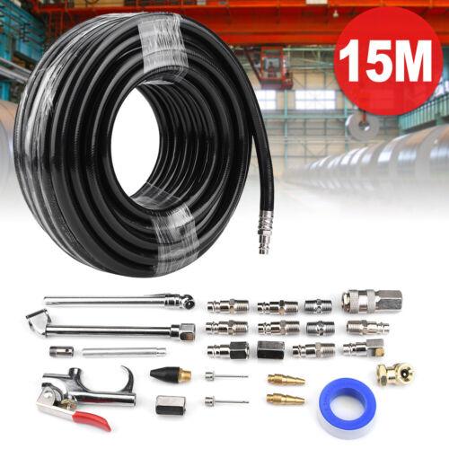 PVC Druckluftschlauch 15m Luftschlauch mit 25 tlg Kompressor Schlauch Zubehör A+