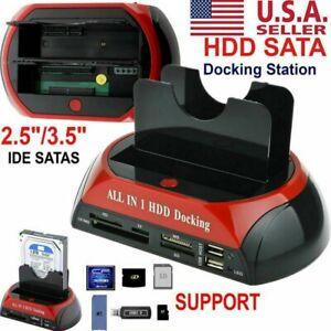 NEW-HDD-Docking-Station-SATA-IDE-Dual-USB-3-0-Clone-Hard-Drive-Card-Reader-USA