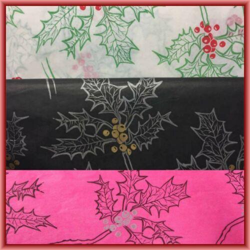 Cerise Noël Holly papier tissu 500 mm x 750 mm 18gsm
