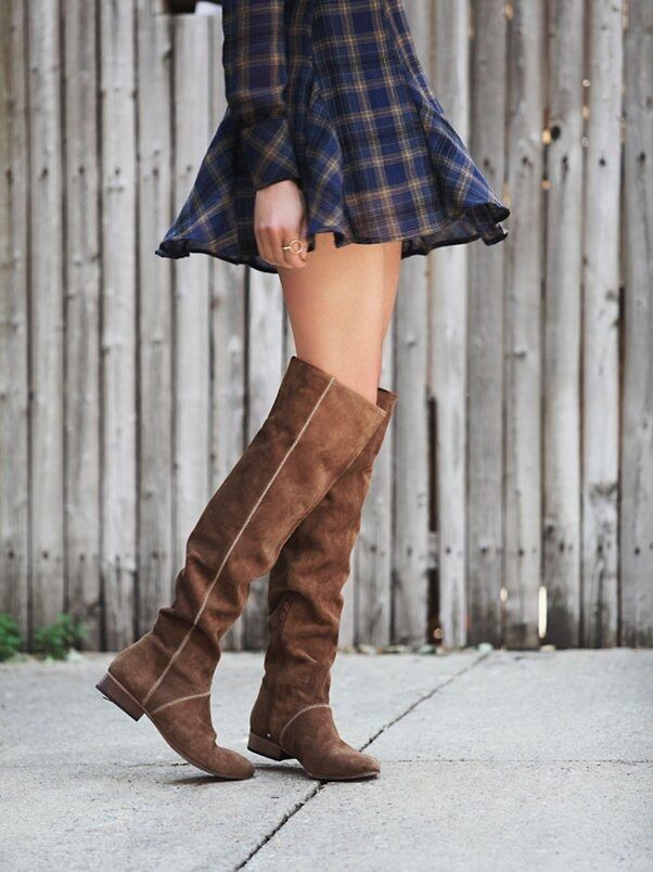 Free People Grandeur Tan Suede Over The Knee Womens Boots 38 8M MSRP  328