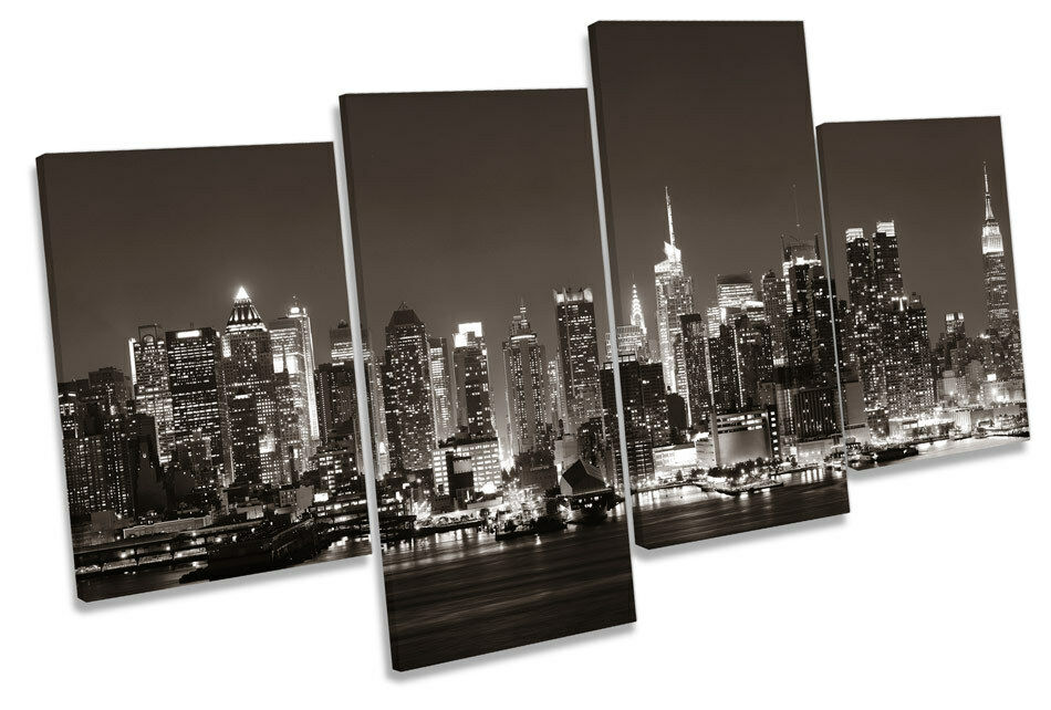 NEW York City US Night Tela Parete Arte Multi Box incorniciato