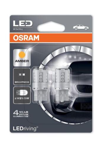 2x W21//5W OSRAM LED 580 T20 DC 12V Amber Orange Wedge Lamps W3x16q 7715YE-02B