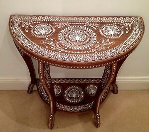 Image Is Loading Indian Rosewood White Inlaid Console Table Peacock Design