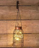 Solar Light Straight Chicken Wire Lantern Indoor Outdoor Garden Patio Home Decor
