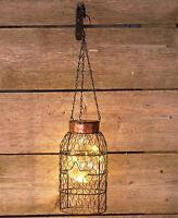 Solar Light Straight Chicken Wire Lantern Indoor Outdoor Garden Patio Home Decor