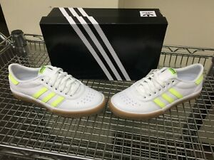 Adidas-Lucas-Premiere-Men-039-s-Skateboarding-Shoe-White-Hi-Res-Yellow-Gum