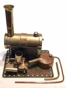 Vintage-Antique-SCRATCH-Construit-Bowman-Miniature-Stationary-Moteur-a-vapeur