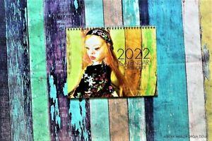 Elegant and stylish, 2022 wall calendar, beautifully illustrated with art dolls