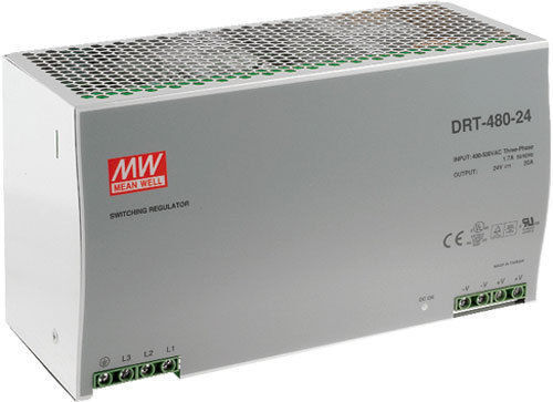 24VDC MEAN WELL 480W THREE PHASE INDUSTRIAL DIN RAIL POWER SUPPLY DRT-480-24