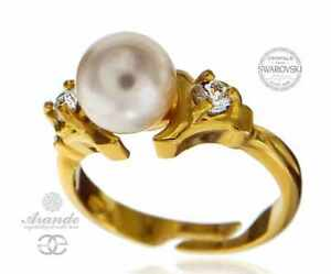 9edbf0244d10 Details about SWAROVSKI PEARL BEAUTIFUL RING GOLD PLATED STERLING SILVER  MANY COLORS