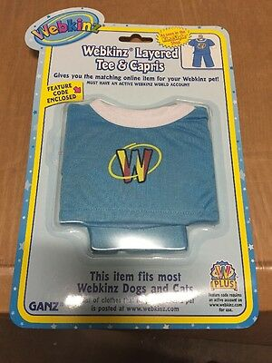 Webkinz Clothing Layered Tee /& Capris With Online Code From Ganz Plush