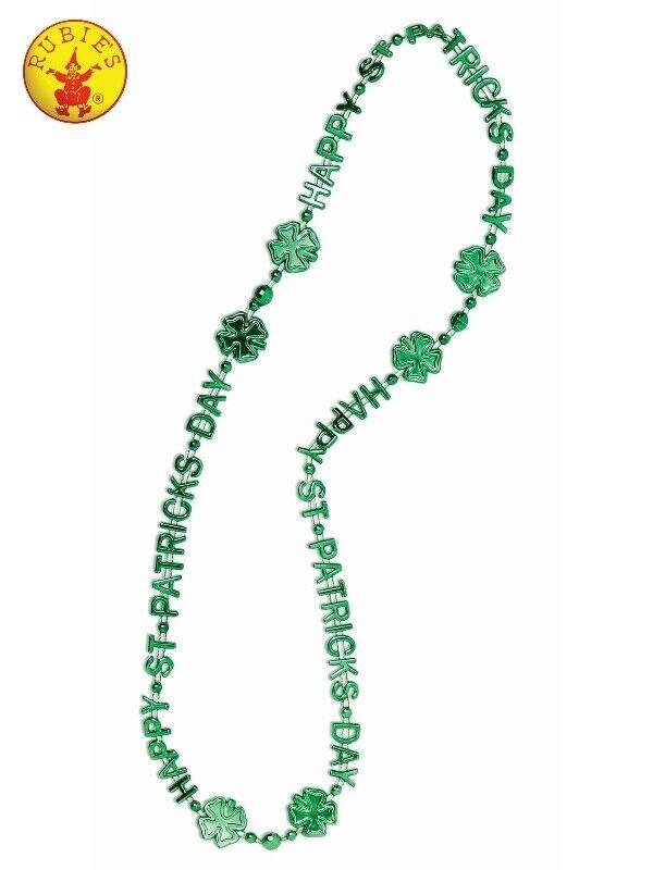 St Patricks Day Green Beads Shamrock Irish Chain Necklace Costume Accessories