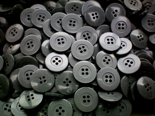 W61A 20mm 32L Steel Grey Polished Coat Jacket 4 Hole Button Sewing Buttons