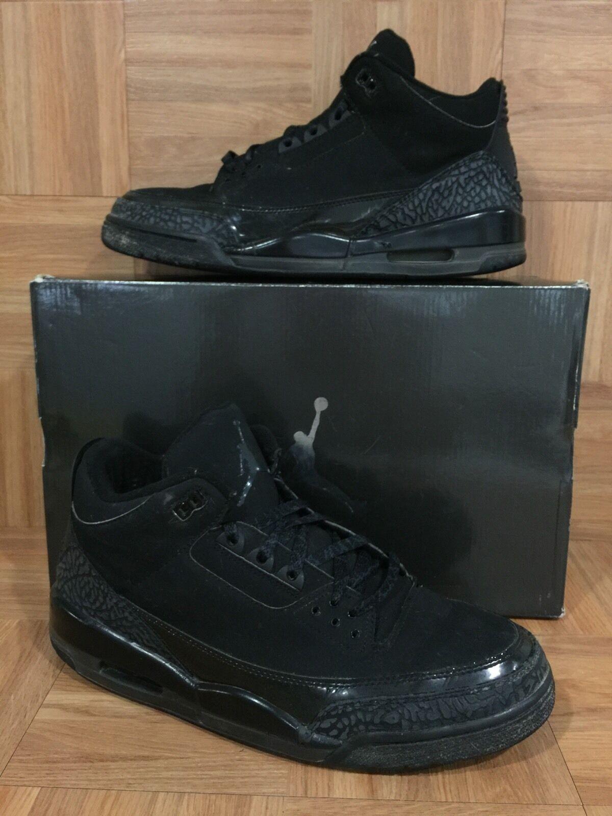 Selten � nike air jordan 3 retro - schwarze katze dunkle holzkohle sz 13 136064-002 krank
