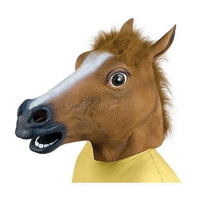 Creepy Horse Mask Latex Cosplay Animal Halloween party Costume Mask Theater Prop