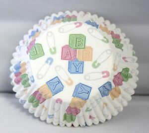 BABY BLOCKS BABY SHOWER BIRTHDAY PARTY CUPCAKE BAKERY BAKING LINER/CUPS 50CT.