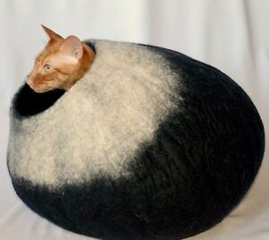 ... Black Felted Wool Cat Cave Cat Cocoon Bed