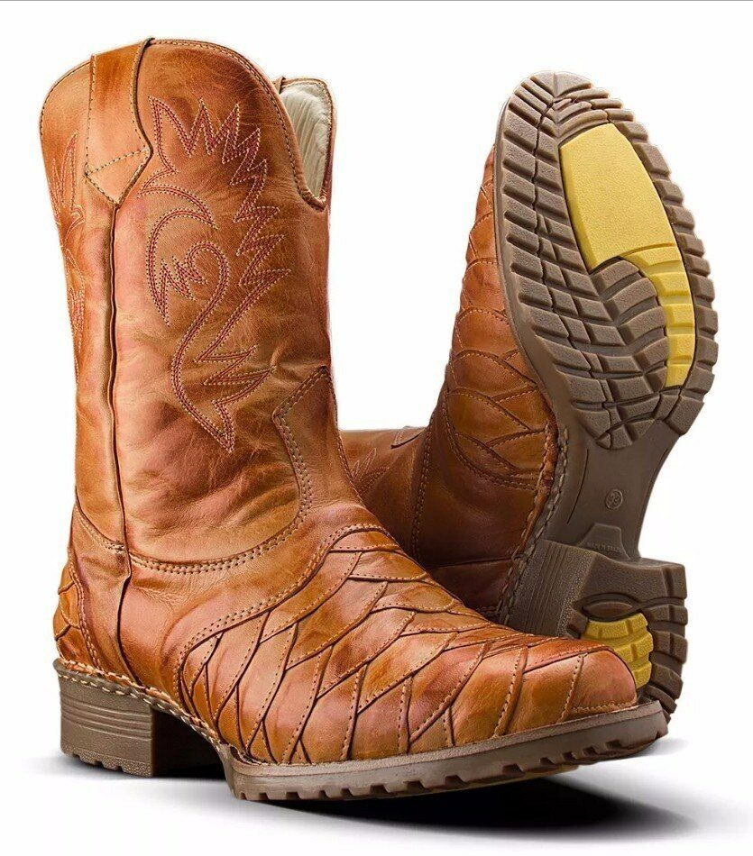Mens cowboy boots square toe genuine leather cheap near me