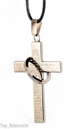 Collar cadena caballero XXL colgante cruz anillo de acero inoxidable NUEVO