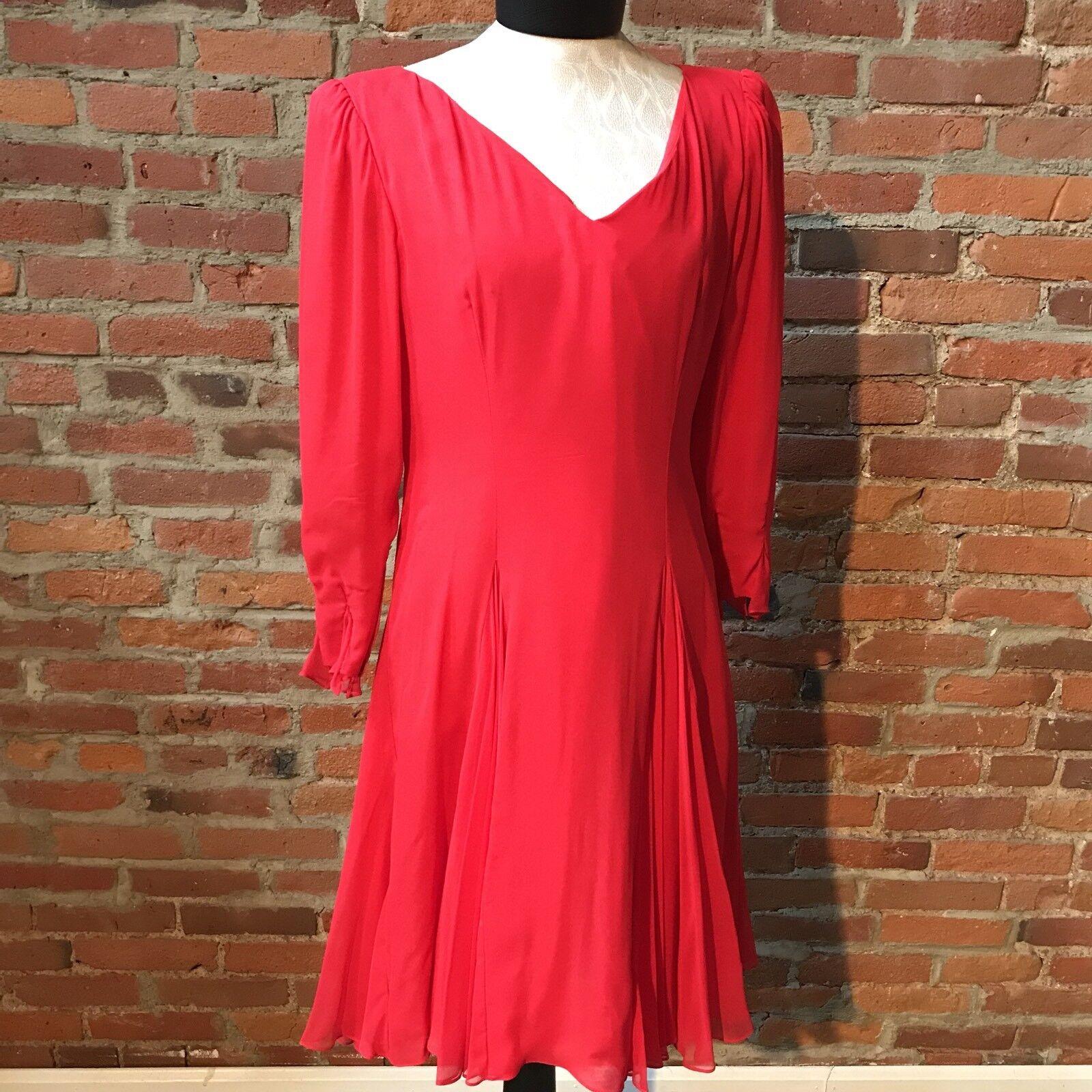 Vintage Travilla Red Silk Chiffon Dress Cocktail … - image 3