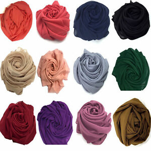 Elegant-High-Quality-Chiffon-Hijab-Scarf-Sarong-Shawl-Wrap-Plain-Maxi