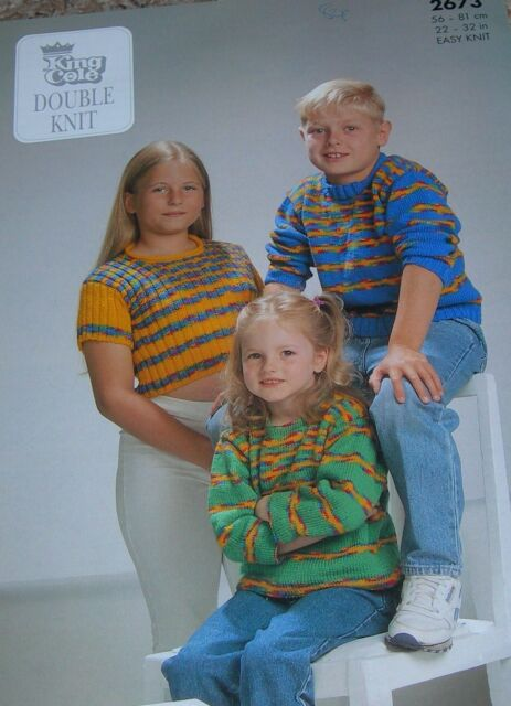 King Cole Knit Pattern Childrens DK Easy Knit Tunic Sweater & Ribbed Top 2673