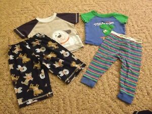 d41ed6cbd7bf Toddler boy 4-piece lot pajamas 2 sets size 12 months pants Carter s ...